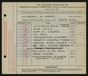 Entry card for Di Nardo, Antonio for the 1931 May Show.