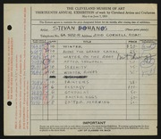 Entry card for Dohanos, Stevan for the 1931 May Show.