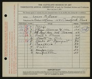 Entry card for Dunn, Louise Morrison for the 1931 May Show.