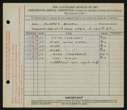 Entry card for Duval, Albert D. for the 1931 May Show.