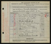 Entry card for Eastman, William Joseph for the 1931 May Show.