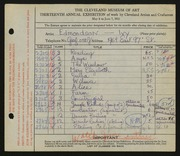 Entry card for Edmondson, Ivy Jane for the 1931 May Show.