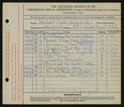 Entry card for English, Herbert C. for the 1931 May Show.