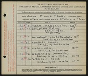 Entry card for Flory, Julia McCune for the 1931 May Show.