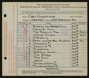 Entry card for Gaertner, Carl Frederick for the 1931 May Show.