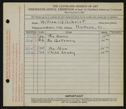 Entry card for Gilchrist, William for the 1931 May Show.
