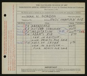 Entry card for Gordon, Max N. for the 1931 May Show.