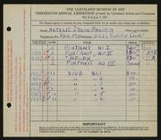 Entry card for Grauer, Natalie Eynon for the 1931 May Show.