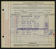 Entry card for Grauer, William C. for the 1931 May Show.