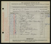 Entry card for Hall, Doris Elizabeth for the 1931 May Show.