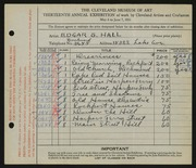 Entry card for Hall, Edgar S. for the 1931 May Show.