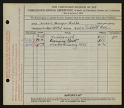 Entry card for Halls, Richard Morgan for the 1931 May Show.