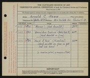 Entry card for Hamm, Arnold C. for the 1931 May Show.