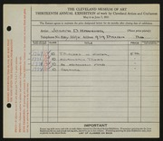 Entry card for Hanning, Joseph D. for the 1931 May Show.
