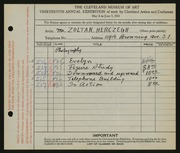 Entry card for Herczegh, Zoltan for the 1931 May Show.