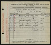 Entry card for Hitchings, Frederic Wade for the 1931 May Show.