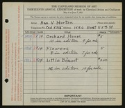 Entry card for Horton, Ann V. for the 1931 May Show.