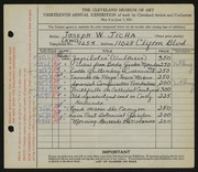 Entry card for Jicha, Joseph W. for the 1931 May Show.