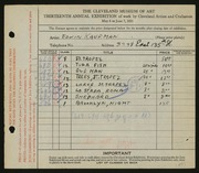Entry card for Kaufman, Edwin for the 1931 May Show.
