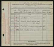 Entry card for King, Mary Louise for the 1931 May Show.