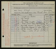 Entry card for Kissel, Irene  for the 1931 May Show.