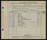 Entry card for Kubinyi, Kalman for the 1931 May Show.