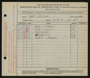 Entry card for Lentine, James for the 1931 May Show.
