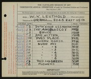 Entry card for Leuthold, W. K. for the 1931 May Show.