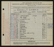 Entry card for Limbach, Russell T. for the 1931 May Show.