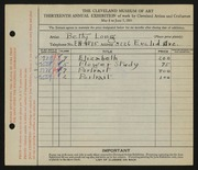 Entry card for Long, Elizabeth French for the 1931 May Show.