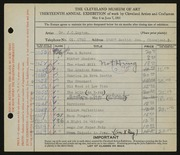 Entry card for Lupton, John C.  for the 1931 May Show.