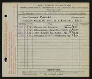 Entry card for Marker, Thomas for the 1931 May Show.