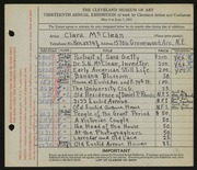 Entry card for McClean, Clara for the 1931 May Show.