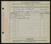 Entry card for McPherson, Douglas for the 1931 May Show.