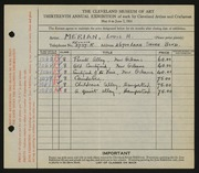 Entry card for Merian, Louis H. for the 1931 May Show.
