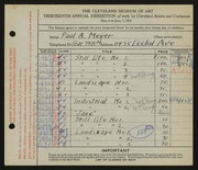 Entry card for Meyer, Paul A. for the 1931 May Show.