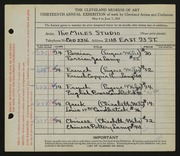 Entry card for Miles Studio, and Miles, Elizabeth B.; Miles, Eugene R. for the 1931 May Show.
