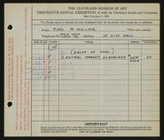 Entry card for Miller, Earl R. for the 1931 May Show.