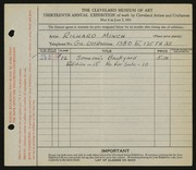 Entry card for Minch, Richard for the 1931 May Show.