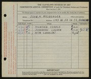 Entry card for Mosberger, John M. for the 1931 May Show.