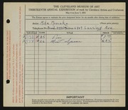 Entry card for Mroczko, Michael for the 1931 May Show.