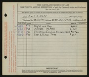 Entry card for Neff, Earl J. for the 1931 May Show.