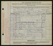 Entry card for Neff, Vera Odeyne for the 1931 May Show.