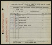 Entry card for Oppmann, Paul H. for the 1931 May Show.