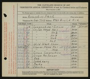Entry card for Peck, Augustus for the 1931 May Show.