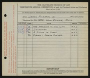 Entry card for Pickands, James, II for the 1931 May Show.