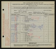 Entry card for Raymond, Mary E. for the 1931 May Show.