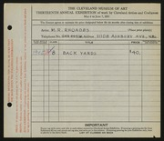 Entry card for Rhoades, M. R. for the 1931 May Show.