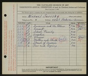 Entry card for Sarisky, Michael A. for the 1931 May Show.
