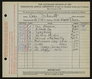 Entry card for Schmidt, Carl for the 1931 May Show.